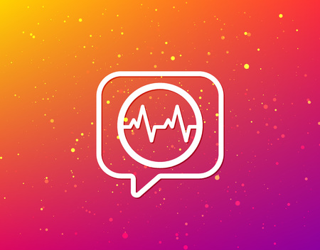 Heartbeat icon. Cardiology symbol. Medical pressure sign. Soft color gradient background. Speech bubble with flat icon. Vector