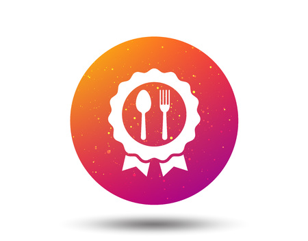 Award medal icon. Food winner emblem symbol. Fork and spoon signs. Circle button with Soft color gradient background. Vector