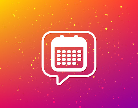 Calendar icon. Events reminder symbol. Soft color gradient background. Speech bubble with flat icon. Vector 일러스트