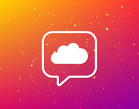 Cloud icon. Data storage technology symbol. Soft color gradient background. Speech bubble with flat icon. Vector