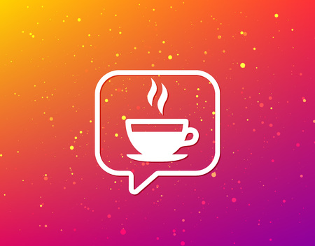 Coffee cup icon. Hot tea drink symbol. Soft color gradient background. Speech bubble with flat icon. Vector