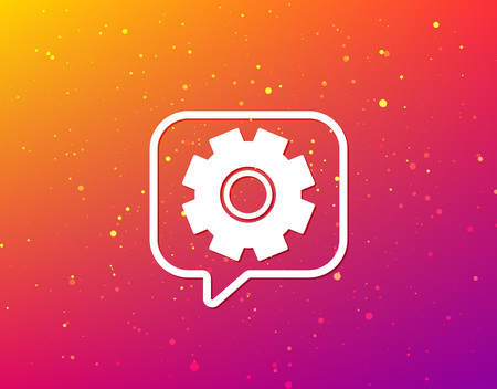 Cogwheel icon. Repair service symbol. Soft color gradient background. Speech bubble with flat icon. Vector 일러스트
