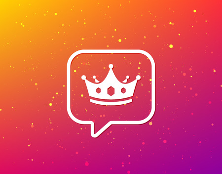 Crown icon. Royal throne leader symbol. Soft color gradient background. Speech bubble with flat icon. Vector