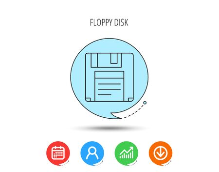 Floppy disk icon. Retro data storage sign. Calendar, User and Business Chart, Download arrow icons. Speech bubbles with flat signs. Vector