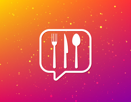 Fork, knife and spoon icons. Cutlery symbol. Soft color gradient background. Speech bubble with flat icon. Vector 일러스트