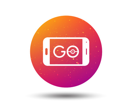 Smartphone device icon. Go symbol. Location-based reality game concept. Circle button with Soft color gradient background. Vector