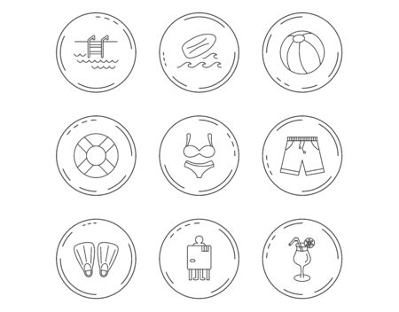 Surfboard, swimming pool and trunks icons. Beach ball, lingerie and shorts linear signs. Lifebuoy, cocktail and changing cabin icons. Linear Circles web buttons with icons. Vector Ilustrace