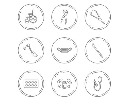 Medical mask, pills and dental pliers icons. Tablets, drilling tool and wheelchair linear signs. Enema, scalpel and tweezers flat line icons. Linear Circles web buttons with icons. Vector