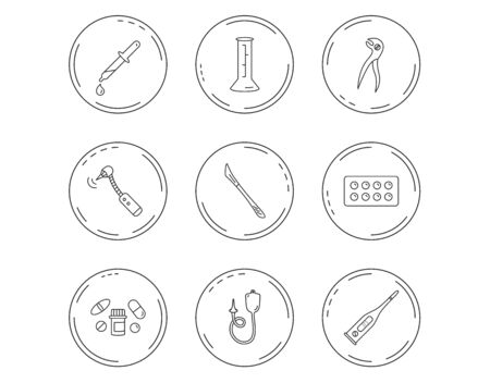 Thermometer, pills and dental pliers icons. Tablets, drilling tool and beaker linear signs. Enema, scalpel and pipette drop flat line icons. Linear Circles web buttons with icons. Vector