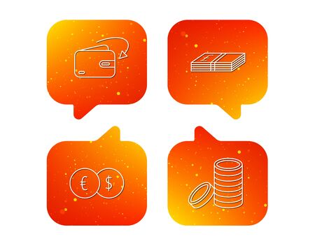 Currency exchange, cash money and coins icons. Receive money linear sign. Orange Speech bubbles with icons set. Soft color gradient chat symbols. Vector