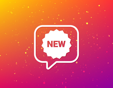 New icon. Special offer star symbol. Soft color gradient background. Speech bubble with flat icon. Vector