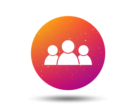 People icon. Group of humans sign. Team work symbol. Circle button with Soft color gradient background. Vector