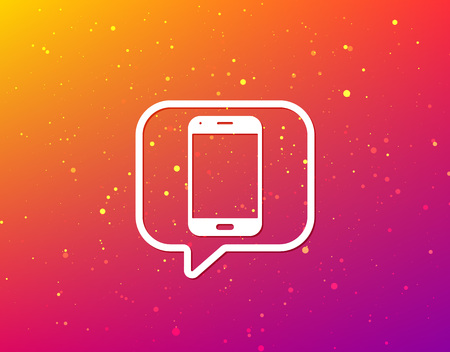 Smartphone icon. Mobile phone communication symbol. Soft color gradient background. Speech bubble with flat icon. Vector
