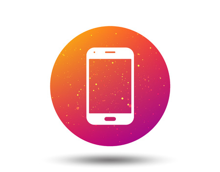 Smartphone icon. Mobile phone communication symbol. Circle button with Soft color gradient background. Vector 일러스트