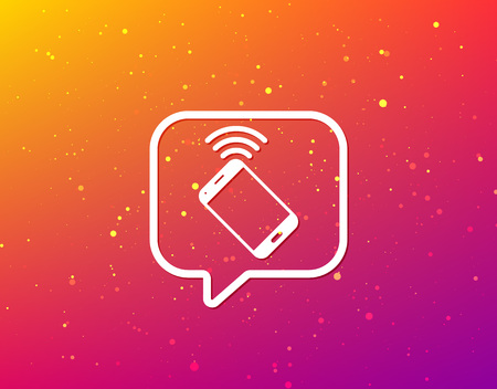 Cellphone icon. Mobile phone communication symbol. Soft color gradient background. Speech bubble with flat icon. Vector 일러스트