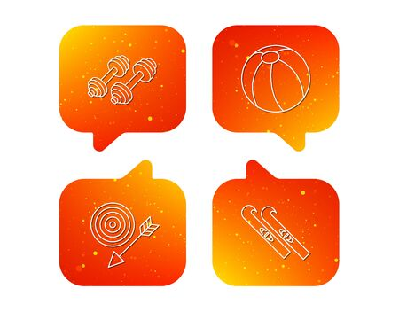 Sport fitness, swimming ball and skis icons. Target with arrow linear sign. Orange Speech bubbles with icons set. Soft color gradient chat symbols. Vector Illustration