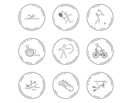 Swimming, tennis and golf icons. Biking, diving and gymnastics linear signs. Archery, boating and bobsleigh icons. Linear Circles web buttons with icons. Vector Illustration