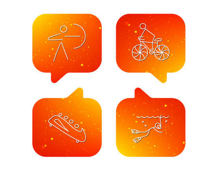 Diving, biking and archery icons. Bobsled linear sign. Orange Speech bubbles with icons set. Soft color gradient chat symbols. Vector