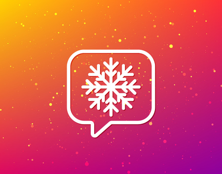 Snowflake icon. Air conditioning symbol. Soft color gradient background. Speech bubble with flat icon. Vector