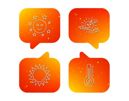 Thermometer, sun and mist icons. Moon night linear sign. Orange Speech bubbles with icons set. Soft color gradient chat symbols. Vector  イラスト・ベクター素材