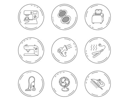 Coffee maker, sewing machine and toaster icons. Ventilator, vacuum cleaner linear signs. Hair dryer, steam ironing and waffle-iron icons. Linear Circles web buttons with icons. Vector  イラスト・ベクター素材