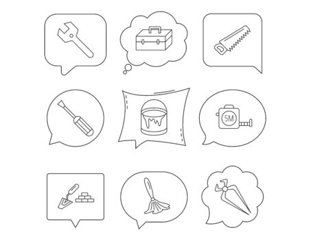 Wrench key, screwdriver and paint brush icons. Toolbox, nippers and saw linear signs. Finishing spatula icon. Linear Speech bubbles with icons set. Comic chat balloon. Vector