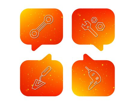 Spanner repair tool, spatula and bolt icons. Drill linear sign. Orange Speech bubbles with icons set. Soft color gradient chat symbols. Vector