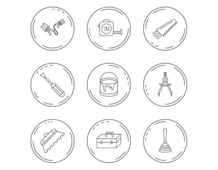 Screwdriver, plunger and repair toolbox icons. Trowel for tile, bucket of paint linear signs. Measurement, battery terminal icons. Linear Circles web buttons with icons. Vector