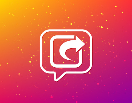 Share icon. Send social media information symbol. Soft color gradient background. Speech bubble with flat icon. Vector