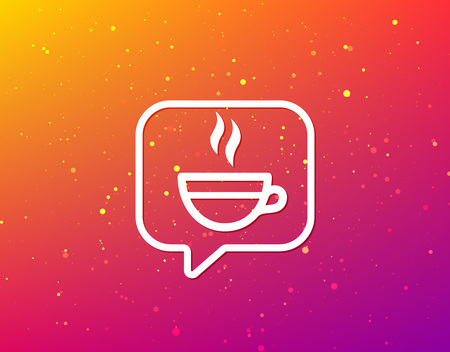 Tea cup icon. Hot coffee drink symbol. Soft color gradient background. Speech bubble with flat icon. Vector