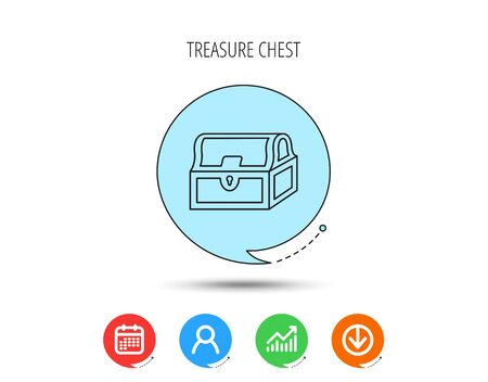 Treasure chest icon. Piratic treasury sign. Wealth symbol. Calendar, User and Business Chart, Download arrow icons. Speech bubbles with flat signs. Vector