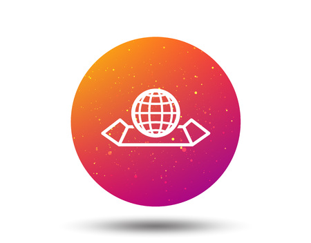 World map icon. Globe sign. Travel location symbol. Circle button with Soft color gradient background. Vector