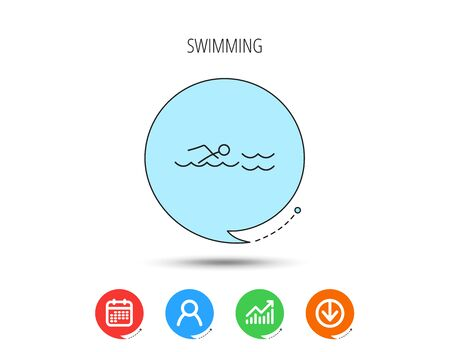 Swimming icon. Swimmer in waves sign. Professional sport symbol. Calendar, User and Business Chart, Download arrow icons. Speech bubbles with flat signs. Vector 写真素材
