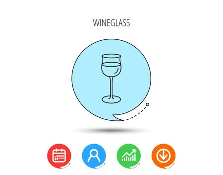 Wineglass icon. Goblet sign. Alcohol drink symbol. Calendar, User and Business Chart, Download arrow icons. Speech bubbles with flat signs. Vector