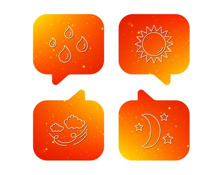 Weather, sun and wind icons. Moon night linear sign. Orange Speech bubbles with icons set. Soft color gradient chat symbols. Vector 写真素材