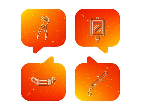 Medical mask, blood and dental pliers icons. Pipette linear sign. Orange Speech bubbles with icons set. Soft color gradient chat symbols. Vector 写真素材