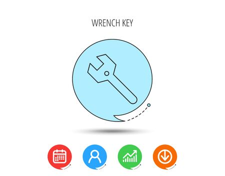 Wrench key icon. Repair fix tool sign. Calendar, User and Business Chart, Download arrow icons. Speech bubbles with flat signs. Vector 写真素材