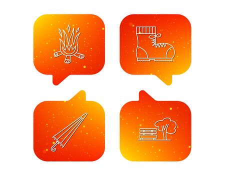 Bonfire, umbrella and hiking boots icons. Park linear sign. Orange Speech bubbles with icons set. Soft color gradient chat symbols. Vector 写真素材