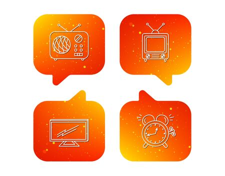 TV, retro radio and alarm clock icons. Widescreen TV linear sign. Orange Speech bubbles with icons set. Soft color gradient chat symbols. Vector 写真素材