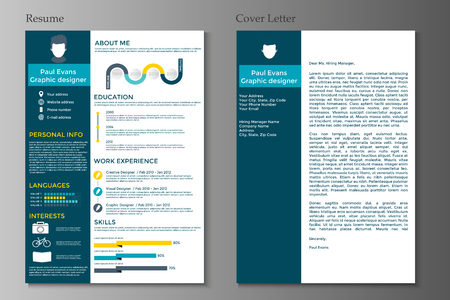 Resume and Cover letter in flat style design on grey background. CV set with Infographics elements. Clean vector. Illustration