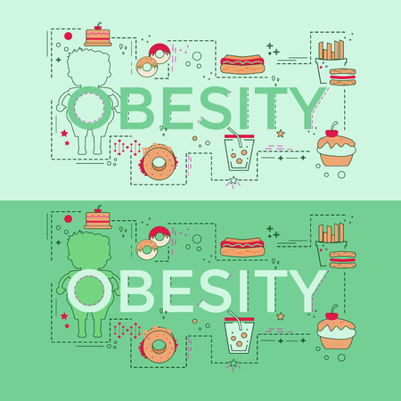 Web page design template with different obese and fitness icons. Unique concept for obesity problems site. Vector illustration. Illustration