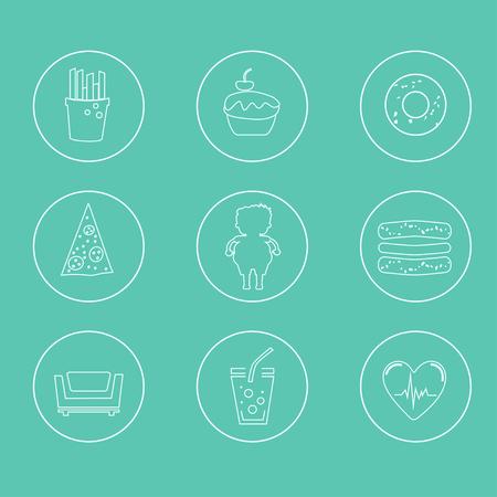 sedentario: Obesidad iconos conjunto - de comida rápida, estilo de vida sedentario, la dieta, las enfermedades y las enfermedades mentales. Concepto del vector para la presentación y la formación.