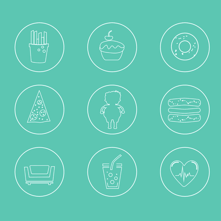 Obesity icons set - fast food, sedentary lifestyle, diet, diseases and mental illness.  Vector concept for presentation and training.