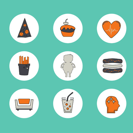mental illness: Obesity icons set - fast food, sedentary lifestyle, diet, diseases and mental illness.  Vector concept for presentation and training.