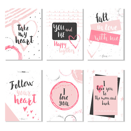 smart card: Set of 6 Valentines day gift cards with heart and lettering. Calligraphy, hand drawn design elements for print, poster, invitation.