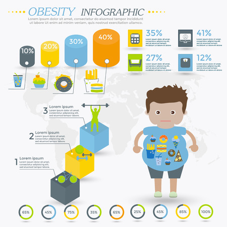 mental illness: Obesity infographics template - fast food, sedentary lifestyle, diet, diseases and mental illness.  Vector concept for presentation and training. Illustration