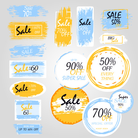 Geometrical social media sale banners and ads, web template collection. Vector illustrations for mobile website posters, email and newsletter designs, promotional material