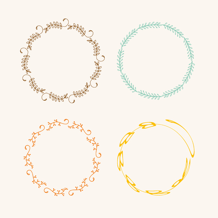 Handdrawn creative painted circle for logo, label, branding. Black brush stain texture. Vector illustration. Ilustração