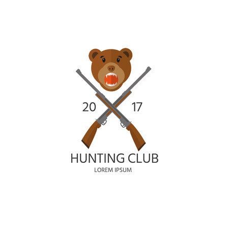 Hunting club label and gear for hunt. Vector icon collection: rifle, shotgun  and cartoon bear.