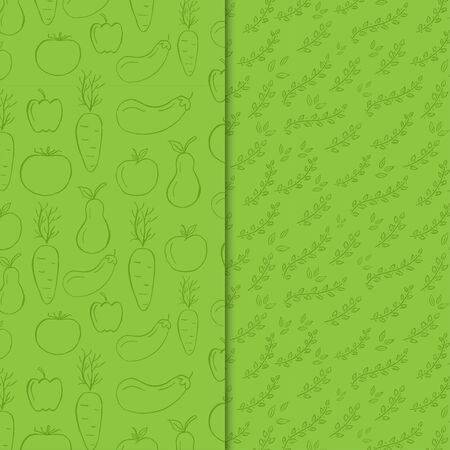 Green fruits and leaves pattern. Illustration